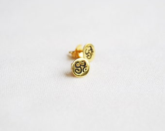 Gold Om earrings, Yoga post earrings, Gold studs, post, Om earrings.