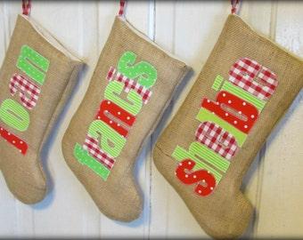 burlap stocking custom burlap stocking christmas stocking burlap christmas stocking - Custom Christmas Stockings
