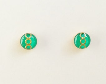 Tiny Green Stud Earrings, Small Green Resin Earrings, Green Retro Stud Earrings, Hypoallergenic, Resin Jewelry, For Her