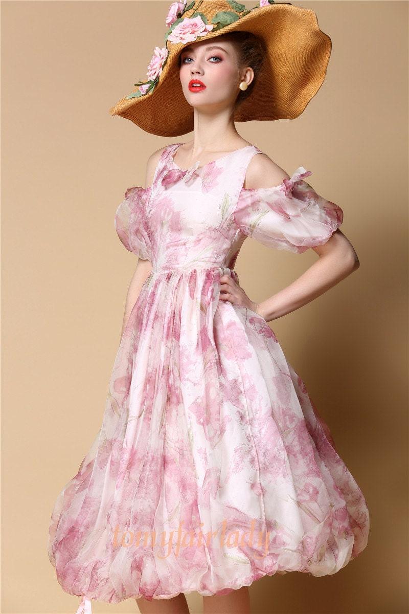 Vintage rose pink floral pure silk off shoulder wedding for Puff sleeve wedding dress
