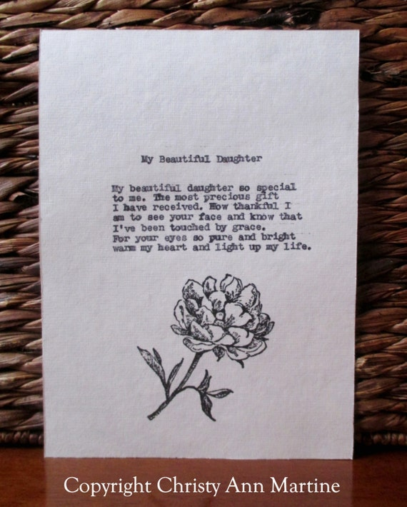 Gifts for Daughter My Beautiful Daughter Poem Mother Daughter Gifts Personalized Gift for Daughter typed onto cotton paper with flower stamp