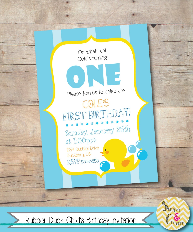 rubber duck birthday invitation printable boy birthday 128270zoom