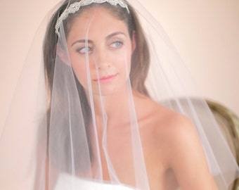 Blusher Veil, Drop Veil, Bridal Veil, Illusion Veil, Circular Veil, Weddings, Accessories, Veils, Style No. 4127