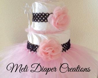 Princess Diaper Cake. Tutu Diaper cake. Baby girl baby shower. Princess baby shower.