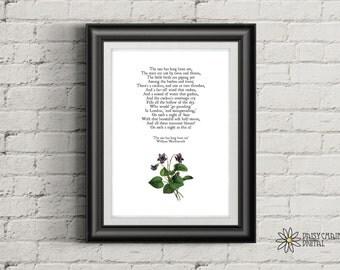 Printable Poetry Wall Art Print - Wordsworth Poem - Minimalist & Classic Poster - A4 Digital Print - Hi Res PDF and JPG - Instant Download