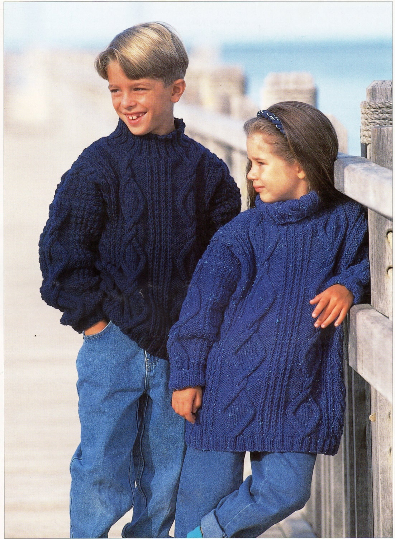 Knitted Hat Pattern Free : childrens aran sweaters knitting pattern cable sweaters aran jumpers 24-30inc...