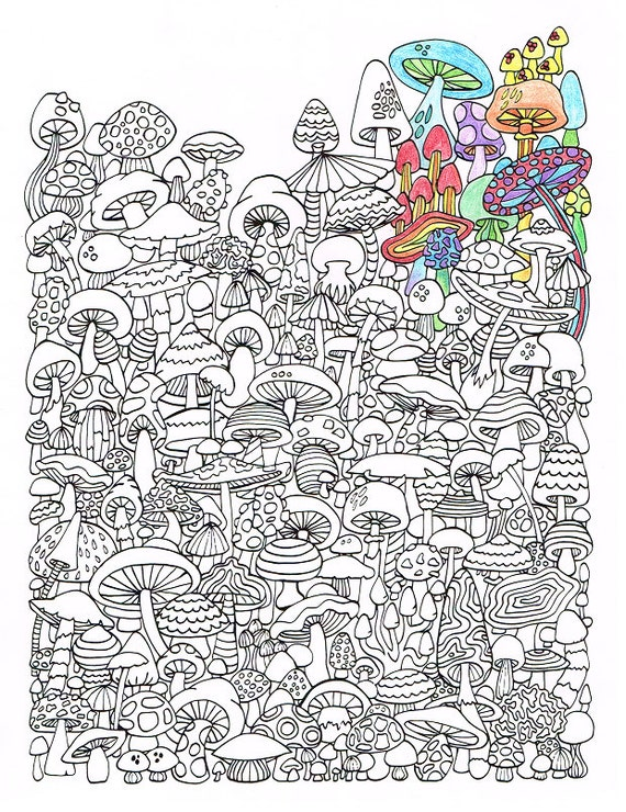 Adult Coloring Page Mushrooms Printable coloring page for