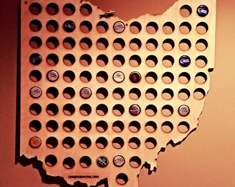 Ohio Shaped Bottle Cap Map