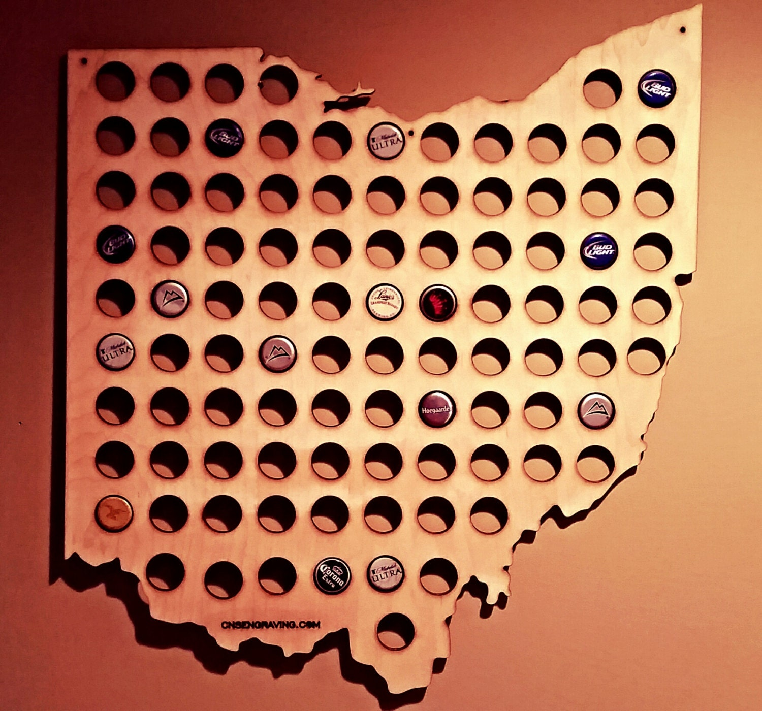 Ohio Shaped Bottle Cap Map - Us beer cap map