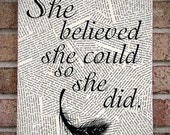 """Inspirational Quote Wall Art: """"She Believed She Could So She Did"""" Canvas Art Print - feather, typography, book pages - graduation present!"""