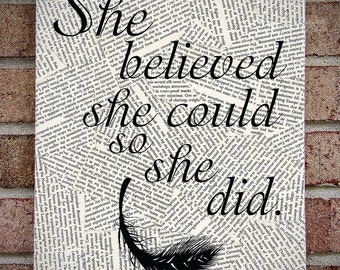 "Inspirational Quote Wall Art: ""She Believed She Could So She Did"" Canvas Art Print - feather, typography, book pages - graduation present!"