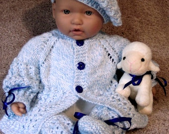 Blue baby Sweater hat booties set Layette- 0-12M- Baby Gift Photos Ready To Ship