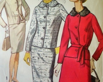 Vintage Simplicity 5557 Sewing Pattern, 1960s Suit Pattern, Straight Skirt, Jackie O Style, 1960s Sewing Pattern, Vintage Sewing Supply