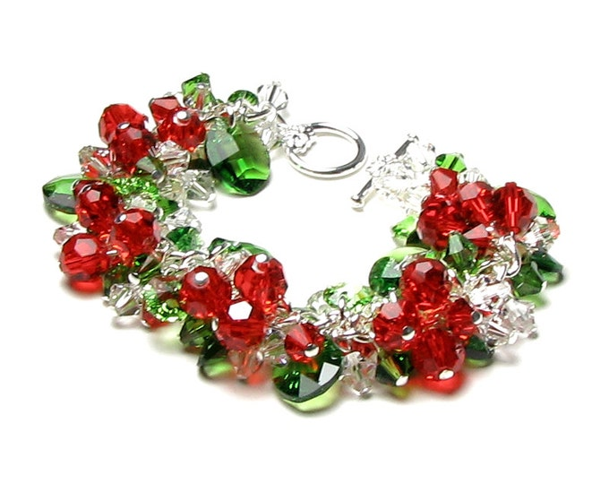 Swarovski Crystal Christmas Bracelet, Red, Green, Clear, Silver Charm Bracelet, Festive Red Berry, Green Holly Leaf, Holiday, Christmas Gift