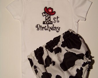 Cowgirl or Cowboy 1st Birthday Set / Onesie + Bloomer / Red & Cow Print / Birthday / Cake Smash / Baby / Boy / Girl / Toddler / Boutique