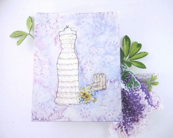 CUSTOM Wedding Dress Sketch - Unique Bridal Shower Gift - First Anniversary Gift - Original Watercolor Wedding Dress Painting