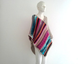 Pippis Bohemian Long Poncho, Fringeless Chunky Knit Poncho, Fall Winter Fashion, Warm Cozy, Original, Womens Handknit Multicolor Poncho Coat