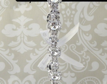CRYSTAL Starburst Rhinestone Wedding Garter, Bridal Garter with SILVER and SATIN Ribbon Accents