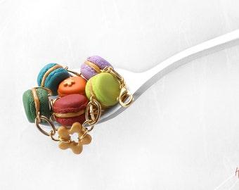 Golden Macaron Bracelet, Food Jewelry, Colorful Bracelet, Polymer Clay Food Bracelet, Macaroon Jewelry, Rainbow Bracelet, Kawaii Bracelet
