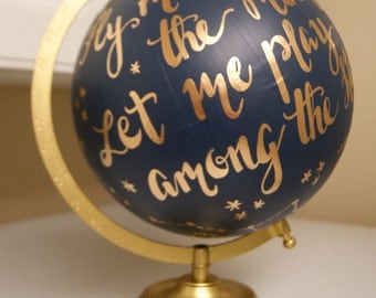 """Custom Hand Painted Constellation Globe, Hand Lettering, 12"""" Anthropologie Inspired **Made to Order**"""