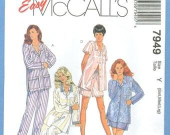 1995 Misses' Pajamas Size S,M,L - Vintage McCalls Sewing Pattern 7949