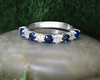 Blue Sapphire and Diamond Band | Wedding Band | Solid 14K Gold | 14K White Gold | Gemstone Ring | Engagement | Fine Jewelry | Free Shipping