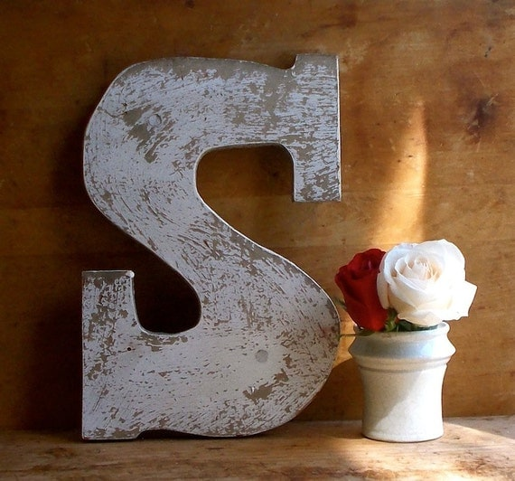 Vintage painted wooden sign letter s advertising for Standing wood letters to paint