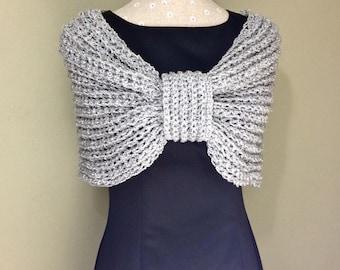 Spring Summer Silver Stole Gray Shoulder Wrap Lightweight Capelet Ribbed Shawl Off Shoulder Shrug Infinity Wrap Bow Shrug Custom Colors