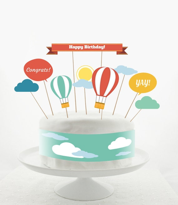 Cake Decoration Printable : Cake Topper Set Cake Decorations PRINTABLE DIY Hot Air