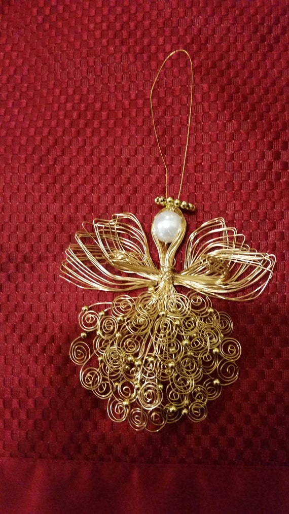 Items similar to gold handmade wire angel ornament for Angel of the north christmas decoration