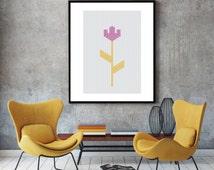 Flower poster, geometric art poster, scandinavian print, modern minimalist print, wall decor poster, sewing texture, room wall art