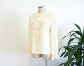 Sale // GIORGIO ARMANI Silk Rose Blouse Button Down Cream Long Sleeve  Formal Top Made in Italy Authentic