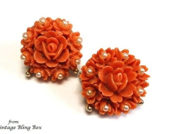 Celluloid Rose Scatter Pins/Brooches with Seed Pearl Accents & Carved Coral Rosettes on Gold - Retro 40's Early Plastic Costume Jewelry