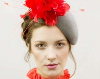 Felt Percher Hat with Feathers, Wedding Headpiece, Ladies Day,  Royal Ascot, Derby Hat  -  Isobel