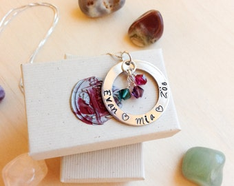Hand Stamped Necklace - Mommy Necklace with Swarovski Crystals for birthstones - Personalized Stamped Necklace - Children's names
