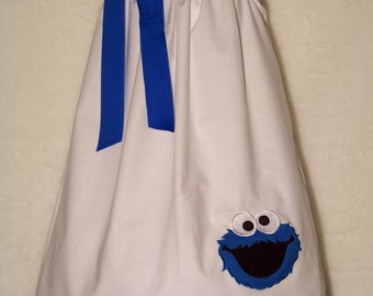 Cookie Monster Pillowcase Dress / 123 Sesame Street / Big Bird / Infant / Baby / Girl / Toddler / Kids / Blue / Custom Boutique Clothing