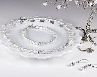 White Pearl Necklace Set Bridal Crystal Wedding Jewelry Set Bracelet Earrings