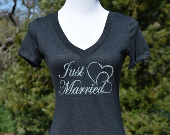 Just married, newlywed shirt, just married v neck, wedding gift, honeymoon, just married shirt, gift for bride, bridal shower, newlywed