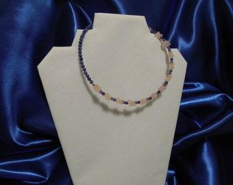Lapis Amethyst Rose Quartz Choker Collar Necklace Handmade OOAK Choker Pantone Color