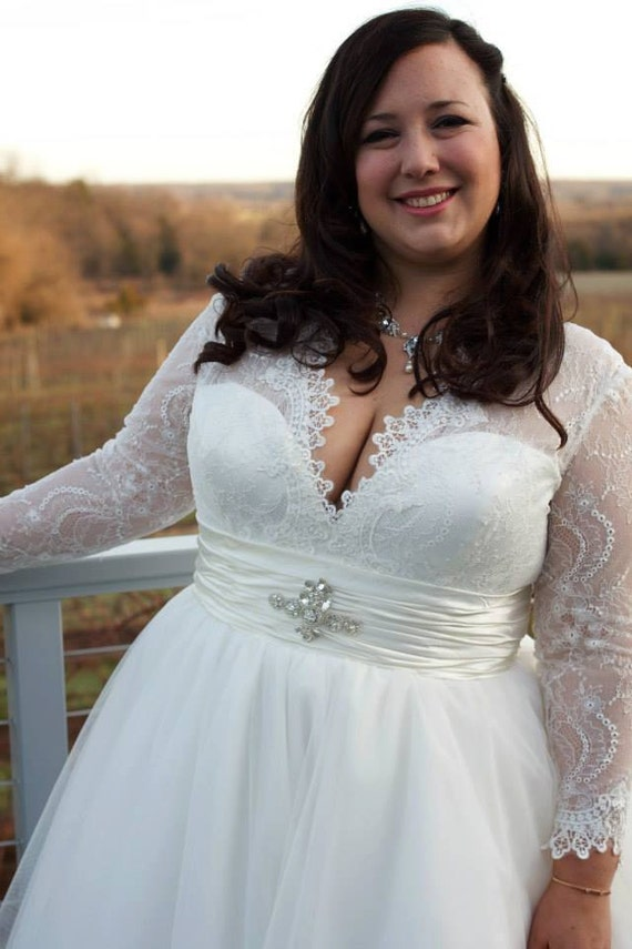 Plus Size Chantilly Lace and Tulle Ballgown with Long Sleeves Custom Made