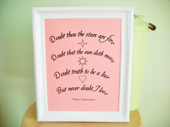 Shakespeare Hamlet Doubt Love Quote 8x10 Print For