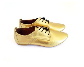 Golden Oxfords - Gold Brogue - UPON REQUEST - Mina Shoes Mexico