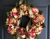 Spring Wreaths | Front Door Wreaths | Hydrangea Wreath | Spring Wreath | Gift for Mom | Outdoor Wreath | Door Decor