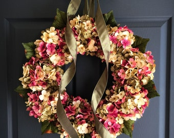 Summer Wreaths | Front Door Wreaths | Hydrangea Wreath | Summer Wreath | Gift for Mom | Outdoor Wreath | Door Decor