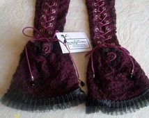 Pair of long gloves Gothic fingerless Victorian, for women, lacing corset, lace and taffeta and mesh