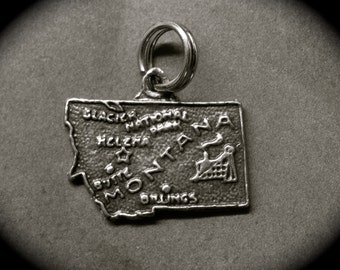 Montana State Map Charm Sterling