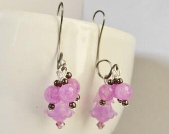 Purple Earrings, Quartz Earrings, Grape Earrings, Gifts for Her, Dangle Earrings, Wire Earrings, Handmade Earrings, Lavender Earrings