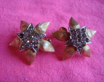 Beautiful RHINESTONE Clip On Star Earrings