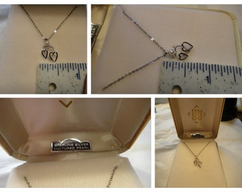Vintage Sterling SILVER Heart Necklace with Cultured Pearls In Original Box