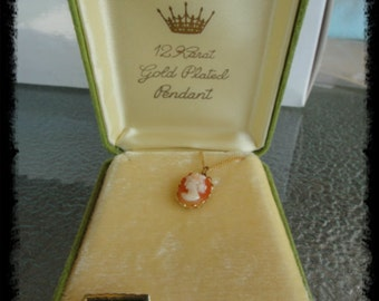 Vintage In the Original Box Hand Carved 24K Gold Plated Necklace Pendant